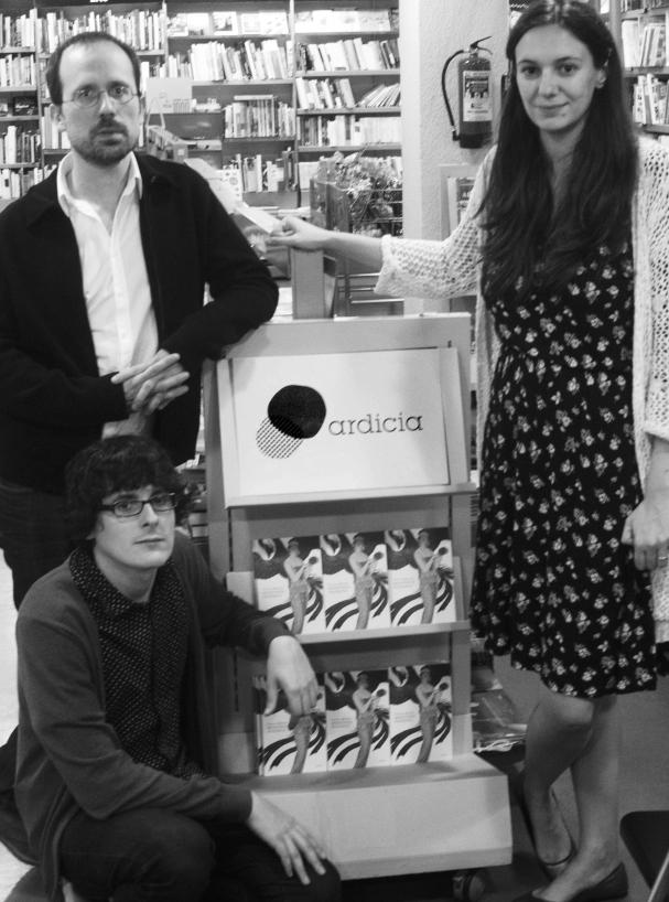 Los editores de Ardicia, Eugenio Martínez, Julio Guerrero y Esther de Prado